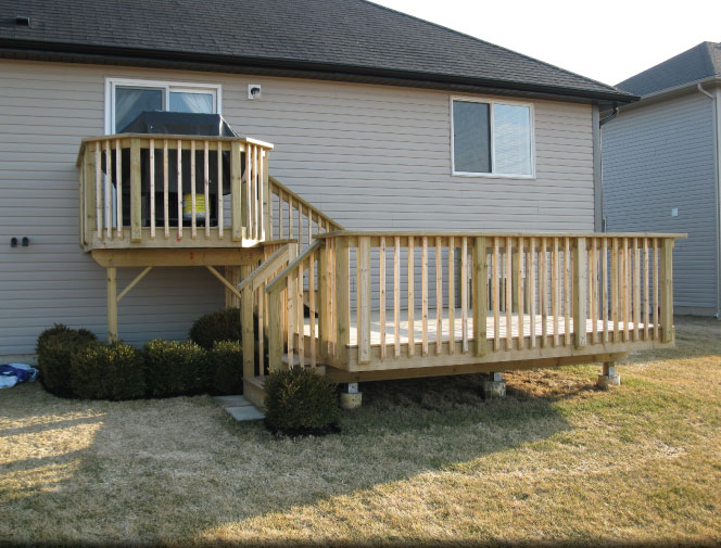 View of the new two tiered deck.