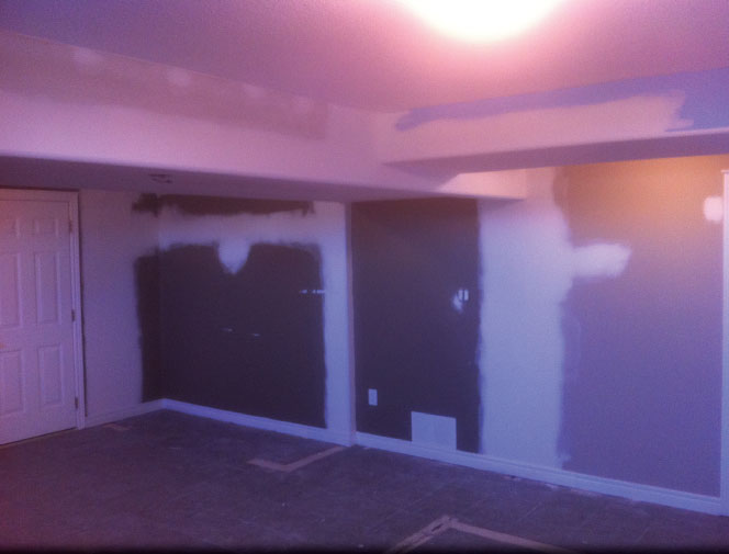 Re-drywalled. Ceiling was re-textured and ready for paint.