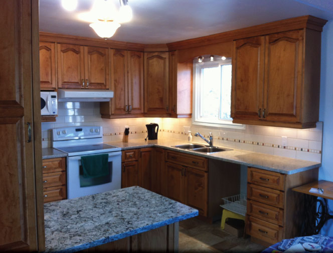 Left side view of the new kitchen and backsplash  - Smithville, ON