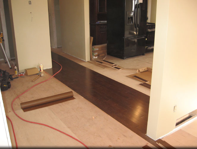 Beginings of 1300 sq. ft. hardwood install - dining room, living room, hallway & two bedrooms.